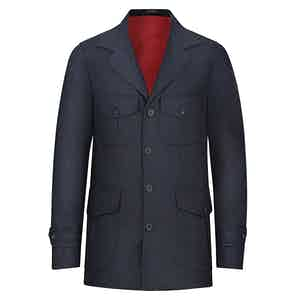 Blue Wool Flannel Sahariana