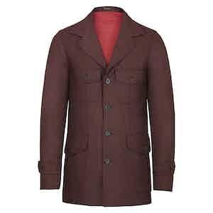 Burgundy Wool Flannel Sahariana