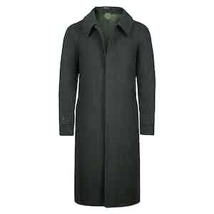 Green Wool Herringbone Raglan Coat