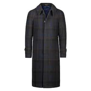 Blue Wool Checked Raglan Coat