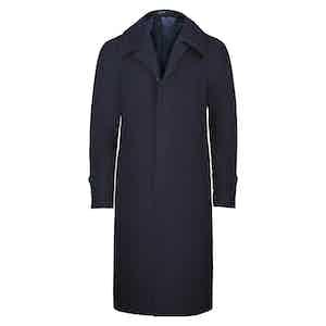 Blue Wool Raglan Coat