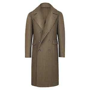 Brown Wool Herringbone Ulster Coat