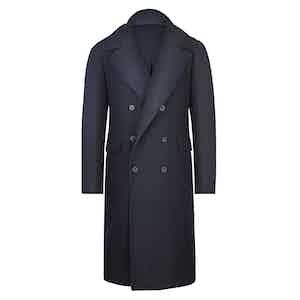 Blue Wool Herringbone Ulster Coat