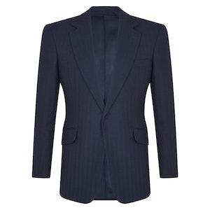 Midnight Blue Wool Herringbone Single-Breasted Jacket