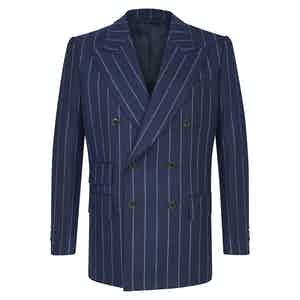 Navy Blue Flannel Chalkstripe Double-Breasted Suit Jacket