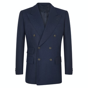 Navy Flannel Double-Breasted Jacket