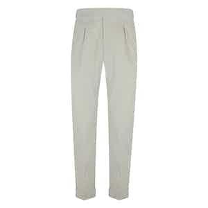 White Velvet Pleated Trousers