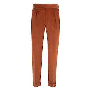 Rust Velvet Pleated Trousers