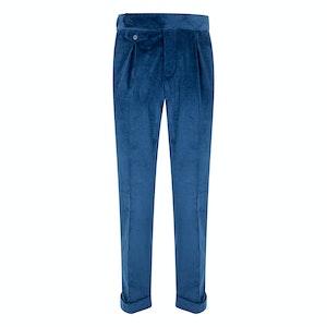 Blue Velvet Pleated Trousers