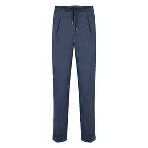 Blue Flannel Spina Drawstring Pleated Trousers
