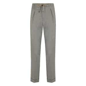 Beige Flannel Spina Drawstring Pleated Trousers