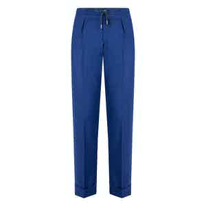 Blue Flannel Drawstring Trousers