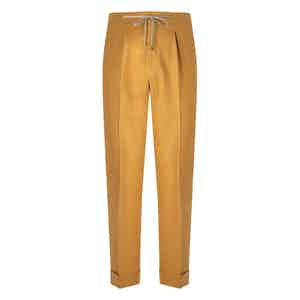 Yellow Flannel Drawstring Trousers