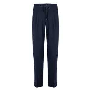 Navy Blue Flannel Drawstring Trousers