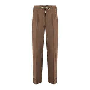 Rust Brown Flannel Drawstring Trousers