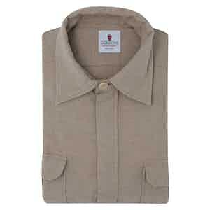 Beige Cotton Flannel Overshirt