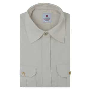 White Cotton Flannel Overshirt