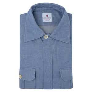 Light Blue Cotton Flannel Overshirt