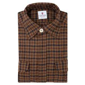 Brown Wool Checked Overshirt