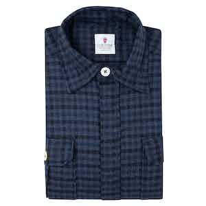 Blue Wool Checked Overshirt