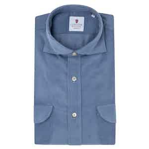 Azure Blue Velvet Shirt