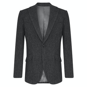 Charcoal Grey Wool Donegal Edward Single-Breasted Jacket