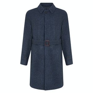 Navy Blue Wool Herringbone Harris Tweed Belted Overcoat