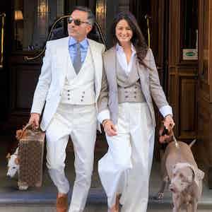 AK MC Flat-Front Gatsby Trousers In Off-White Cotton Corduroy