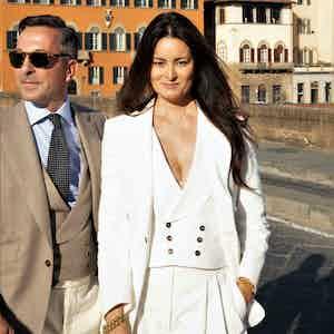 AK MC Signature Gatsby Ladies Jacket In Off-White Cotton Corduroy