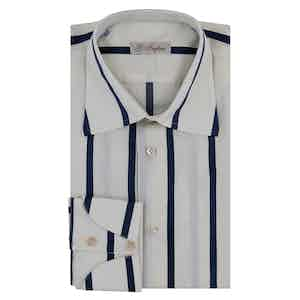 Off-White and Blue Cotton Striped Shirt