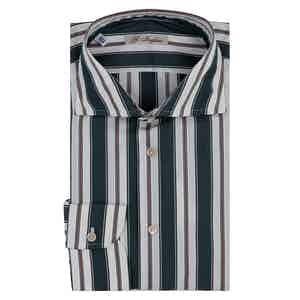 Green and White Cotton Striped Shirt