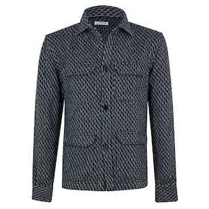 Blue Cotton Denim Flamed Shirt