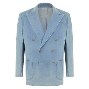 Light Denim Cotton Double-Breasted Jacket