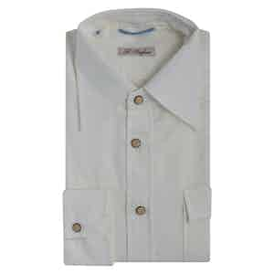 White Gauzed Cotton Western Shirt