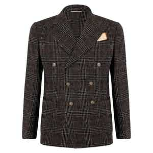 Black Fox Brothes Wool Check Double-Breasted Jacket