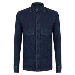Blue Cotton Denim Red Button Overshirt