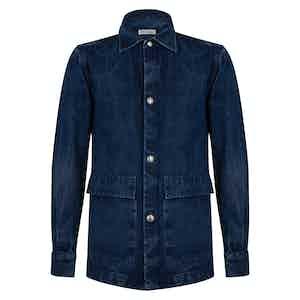 Blue Cotton Denim Metal Button Overshirt