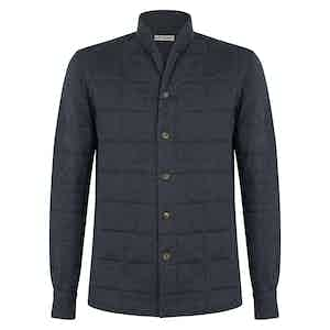 Grey Wool and Cotton Jesey Quilted Jacket