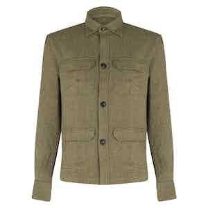 Green Wool Herringbone Overshirt