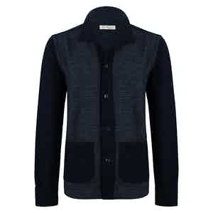 Blue Wool Houndstooth Front Overshirt