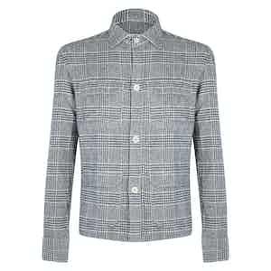 Grey Wool Prince of Wales Check Overshirt