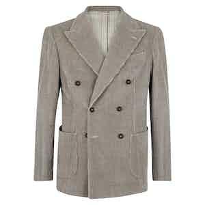 Beige Velvet Double-Breasted Jacket