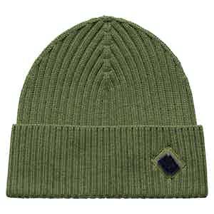 Green Wool Beanie Hat