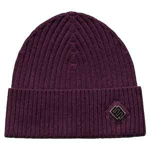 Burgundy Wool Beanie Hat