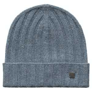 Blue Cashmere Beanie Hat