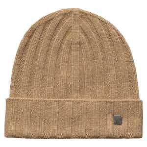 Beige Cashmere Beanie Hat