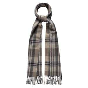 Brown Wool Check Scarf