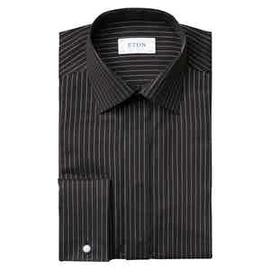 Black and Gold Cotton Twill Slim Fit Shirt