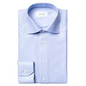 Light Blue Cotton Twill Contemporary Slim Fit Shirt