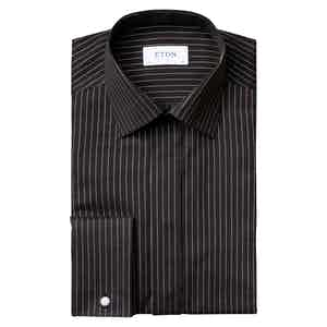 Black and Gold Cotton Twill Contemporary Evening Shirt